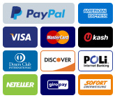 We Accept Paypal, Credit Cards - American express (Amex), Visa, Mastercard, Discover and Google Checkout